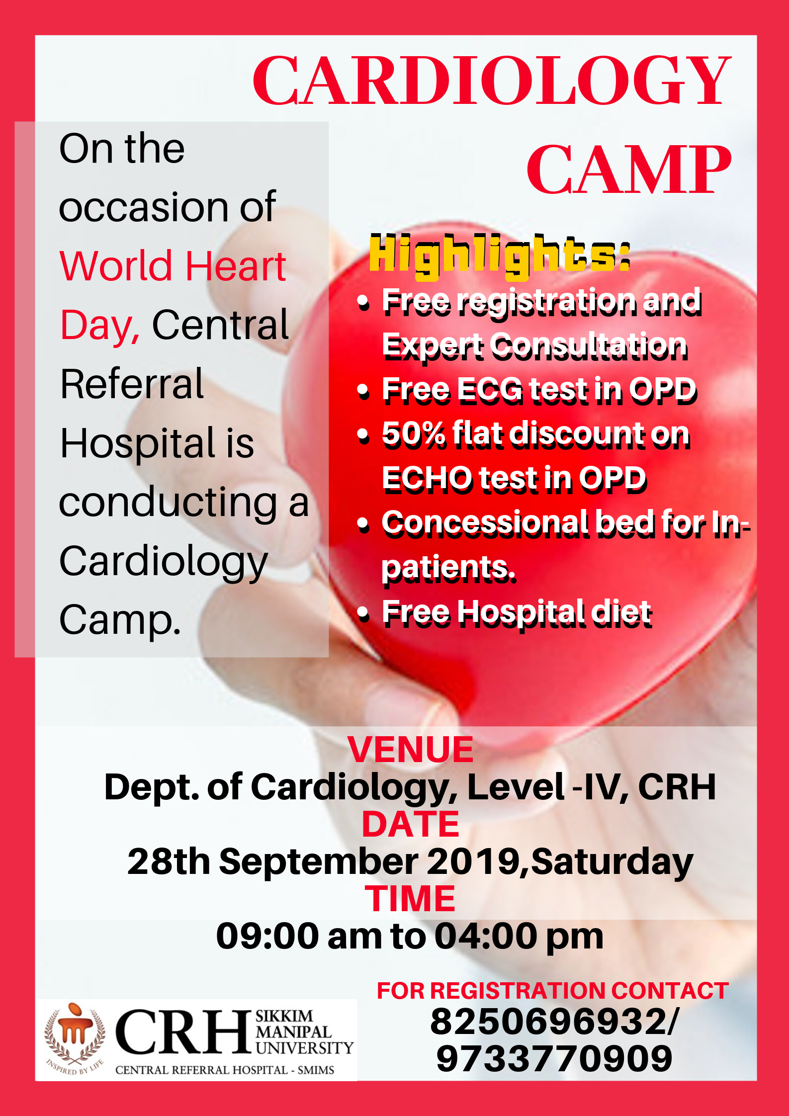 Central Referral Hospital is organizing a Cardiology Camp on 28th September 2019